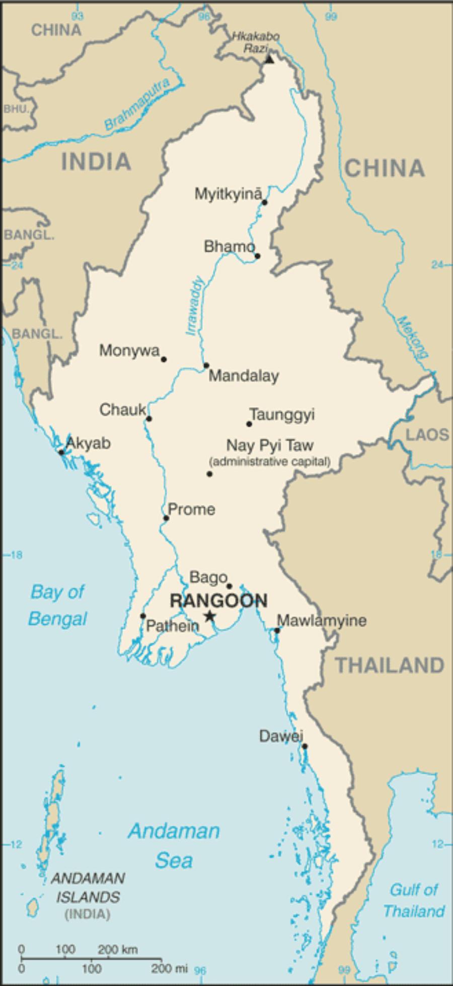 Karte Myanmar.Myanmar Karte